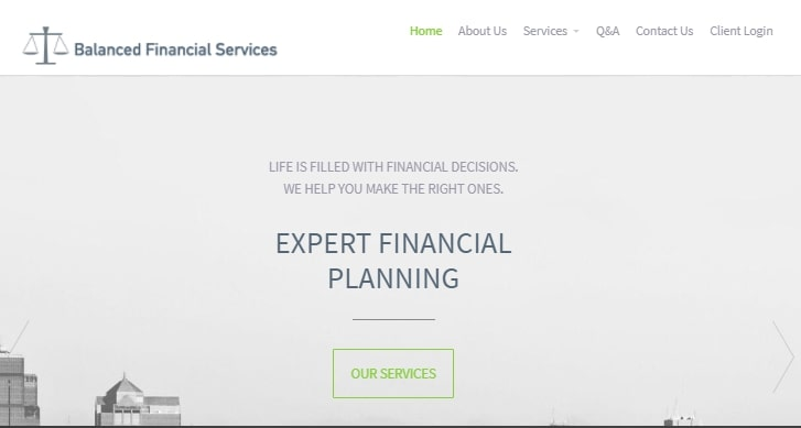 Balanced Financial Services' Homepage