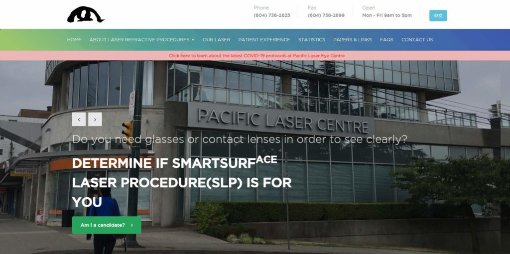 Pacific Laser Eye Centre's Homepage