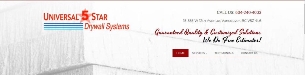 Universal 5 Star Drywall Systems' Homepage